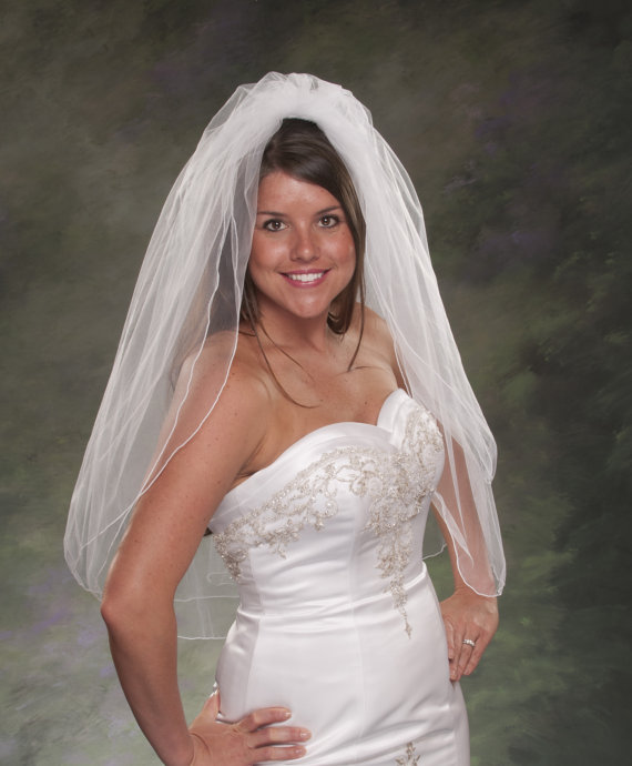 Свадьба - Fingertip Veils, 2 Layer Bridal Veils, Pencil Edge 34 Inch, Ivory Wedding Veils, 2 Tier White Bridal Veils, Tulle Veils, Ivory Wedding Veils
