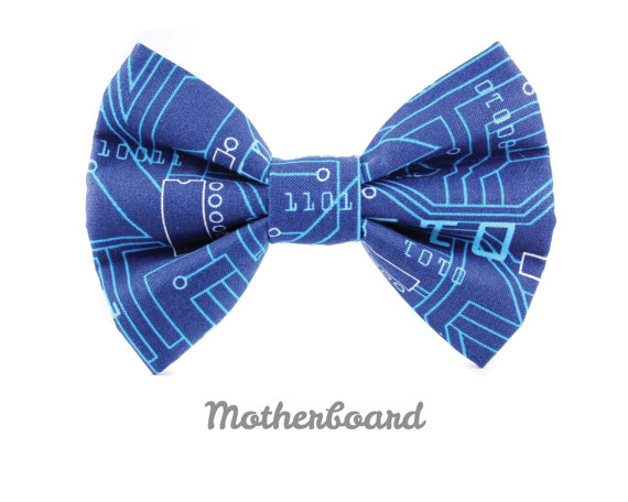 Mariage - Blue Dog Collar Bow Tie, Wedding Pet Apparel, Removable and Adjustable - Pinstripe Chevron in Navy