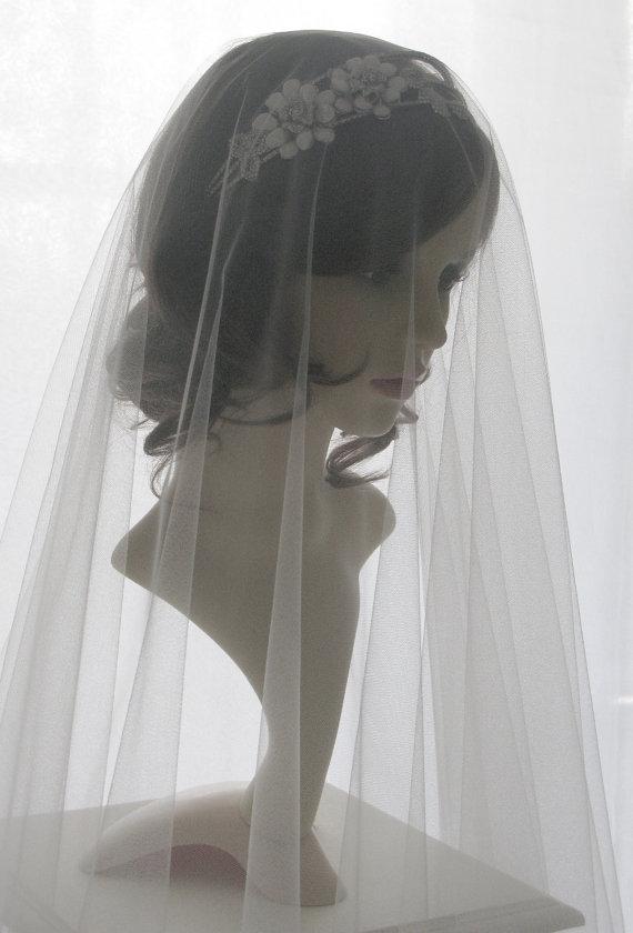 Wedding - Drop veil - Italian tulle bridal veil - Pure