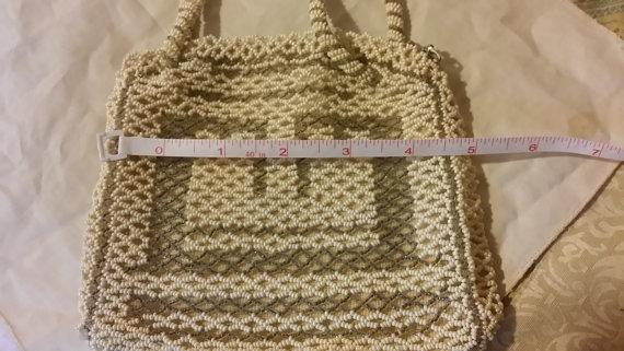 Mariage - Vintage Beaded Purse, Off White purse,Clutch,White purse, Czechoslovakia purse, Hand beaded purse,old beaded purse,Wedding bag,Wedding purse