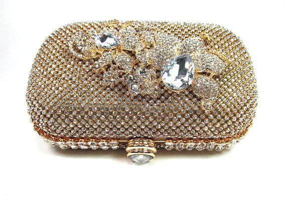 Mariage - Gold Rhinestone Crystal Bridal Clutch, Wedding Purse, Holiday Clutch