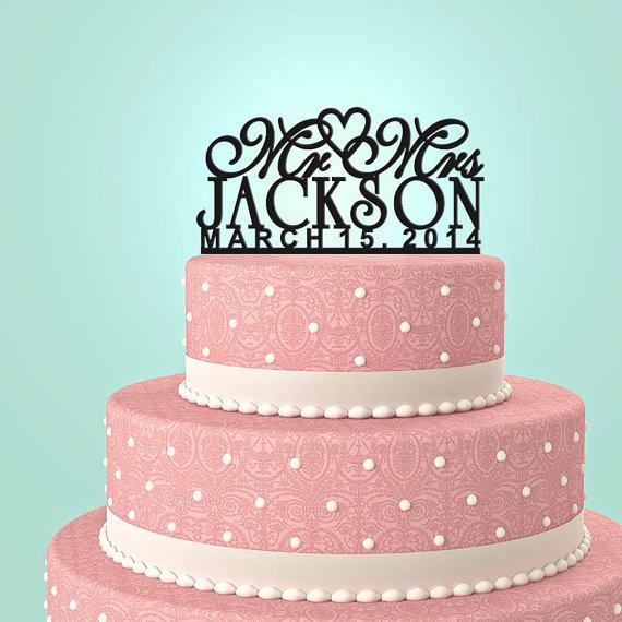 زفاف - Personalized Custom Mr & Mrs Wedding Cake Topper with YOUR Last Name and date