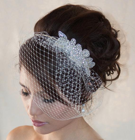 Свадьба - Wedding Birdcage Veil  with Crystal rhinestone applique VI04