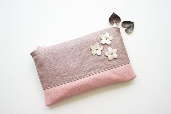 زفاف - 50% SALE! Waxed linen and leather clutch, Purple wedding clutch, Evening purse, Summer purse