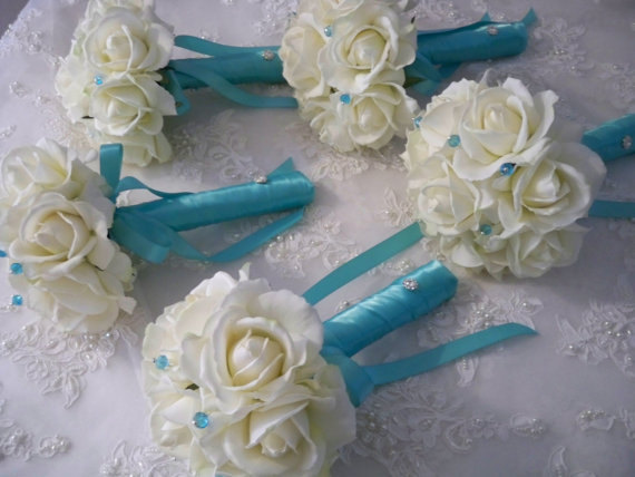 Mariage - Realtouch Rose Bridesmaid Destination Bouquet in Tiffany Blue