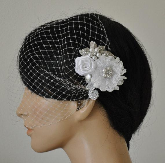 Свадьба - Birdcage Veil (Bandeau style) set with hair  Fascinator (2 Items) , Hair Accessory,wedding veil, Bridal hair piece ,wedding hair piece,