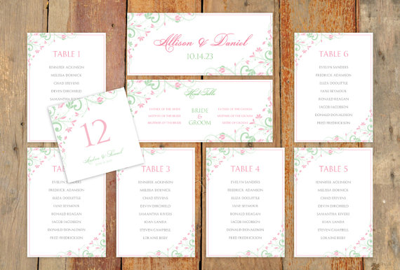 Hochzeit - Wedding Seating Chart Template - DOWNLOAD Instantly - EDITABLE TEXT - Chic Bouquet (Mint & Pink)  - Microsoft Word® Format