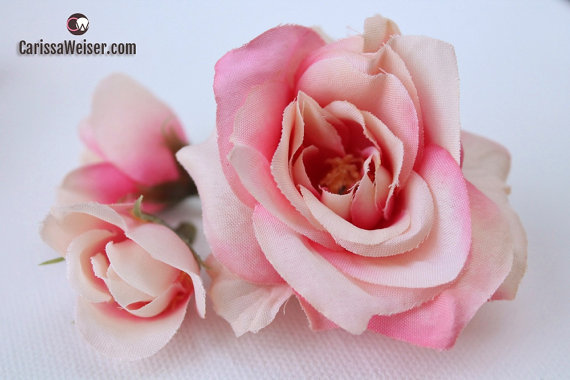 Свадьба - Silk Flowers - 14 Pink and Cream Roses and Buds - Artificial Roses - Flower Crowns, Halos, Wedding Crowns