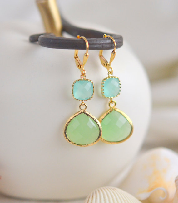 Mint And Aqua Bridemaid Earrings In Gold Dangle Earrings