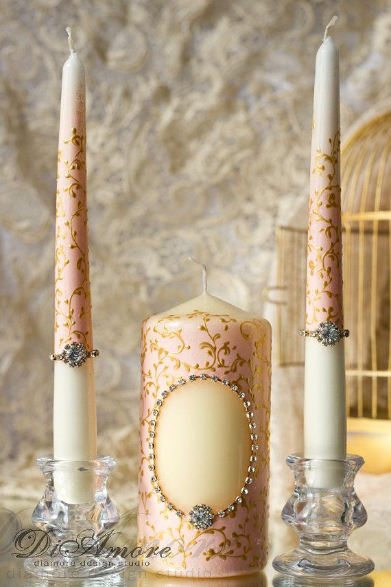 Wedding - Blush pink & gold-painted handmade  Wedding Unity Candle. Set of 3. custom color