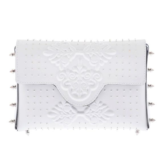Hochzeit - Rocker wedding white clutch bag, Handmade bridal pvc shny clutch purse, gorgeous bridal bag with silver spikes and pins each one by hand