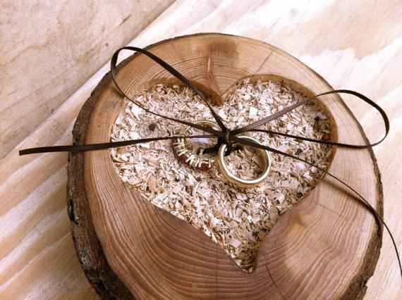 Rustic Wedding Ring Pillow Bearer Wooden Holder Heart