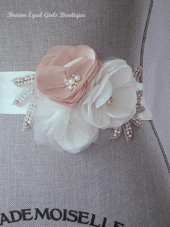 Mariage - Blush Bridal Sash with Rhinestone Applique Embellishment , Blush and Ivory Bridal Belt, Rhinestone Bridal Sash