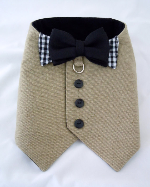 Свадьба - Linen harness vest with bow tie attached, Custom made to pet's measurements
