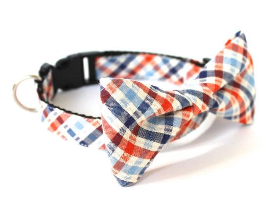 Mariage - Dog cat bow tie collar Seersucker Plaid Orange Blue, UsagiTeam designer dog collars with bowties