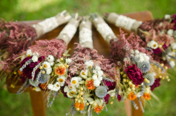 Wedding - Dried flower bridesmaid bouquets, peony and safflower bouquet, orange and burgundy bouquet, fall wedding, fall bouquets, autumn wedding