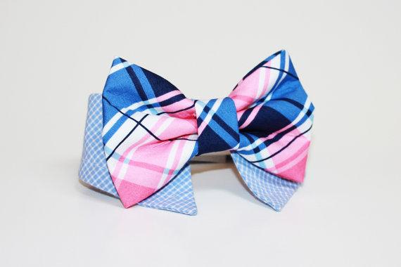 Свадьба - Shirt and bow tie dog collar- plaid bow tie- plaid pet tie- wedding dog collar- dressy dog collar