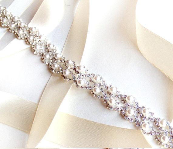 زفاف - Crystal Pearl Weave Bridal Belt Sash - White Ivory Silver Satin Ribbon - Rhinestone Pearl - Wedding Dress Belt - Extra Long