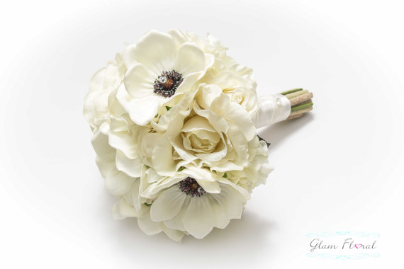 Свадьба - Rose & Anemone Wedding Bouquet, Wedding Bridal Bouquet Boutonniere Set, Real Touch Flowers White Black Ivory