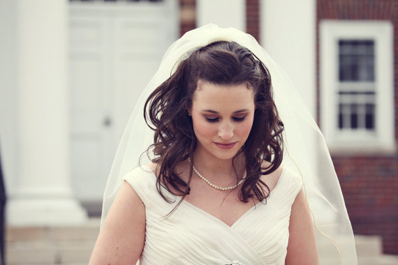 Mariage - Custom Handmade 1 or 2 Tier Elbow Bridal Wedding Veil With a Corded Edge Starting at 34.99