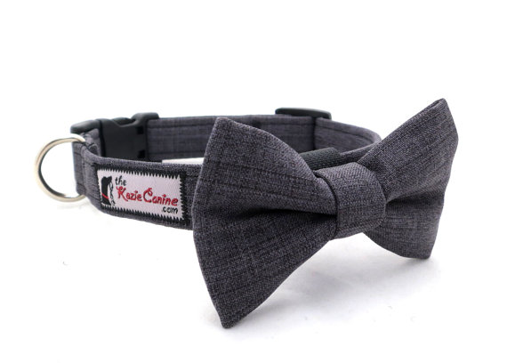 Свадьба - Charcoal Grey Dog Collar Made from Suiting Fabric (Dog Collar Only - Matching Bow Tie Available Separately)