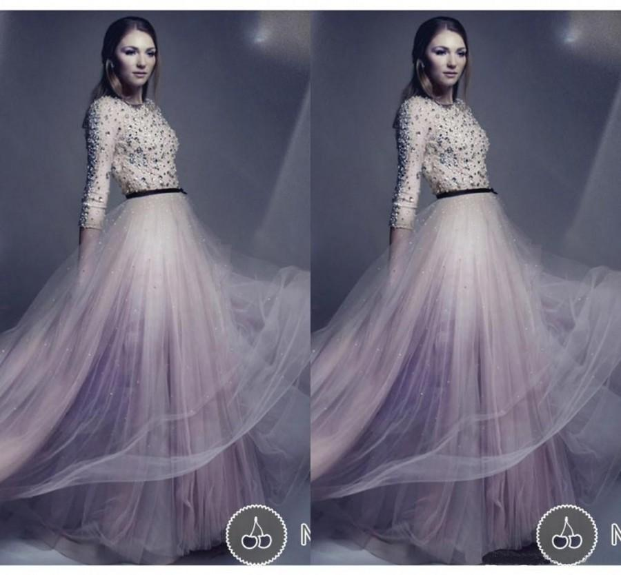 Modest tulle pink prom formal dresses vestidos 2014 for Cheap modest wedding dresses with sleeves