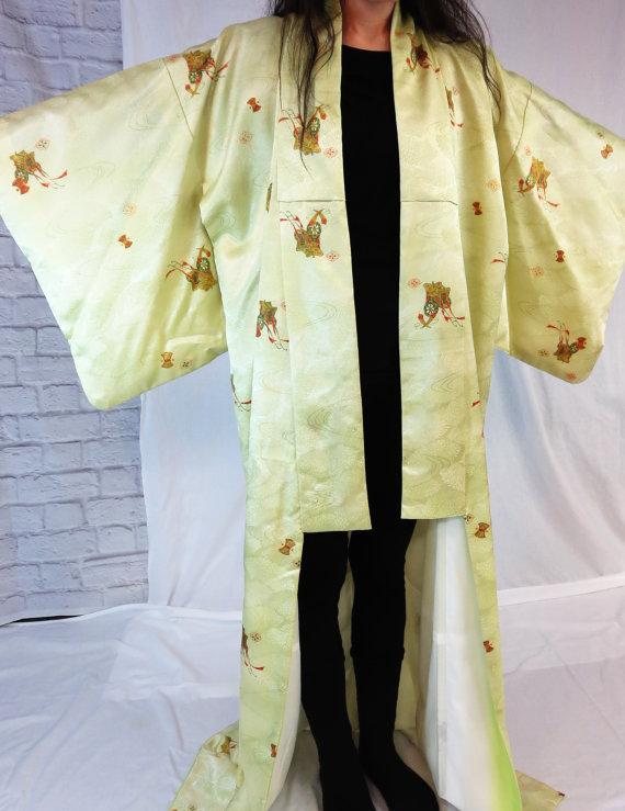 زفاف - Exquisite Japanese Silk Kimono, Long Kimono, Dresing Gown, Wedding Lingerie