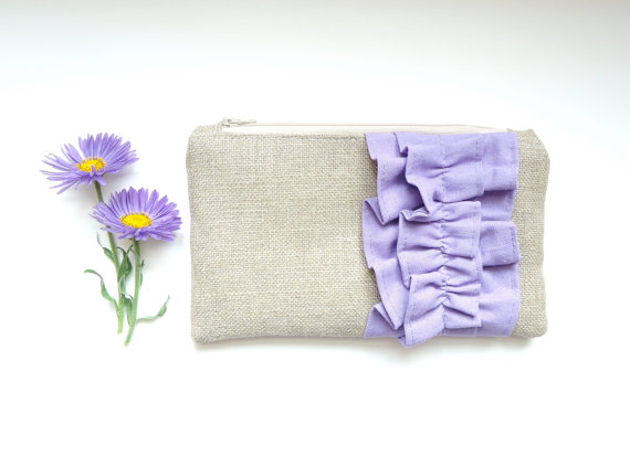Boda - Lavender Burlap Ruffle Zipper Clutch - Bridesmaid Gift - Pastel Purple Lilac Wedding Bag
