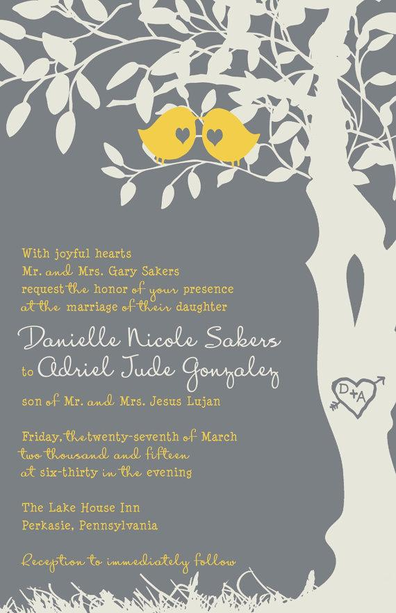 RUSH Love Bird Wedding Invitations - Yellow And Gray Tree Wedding ...