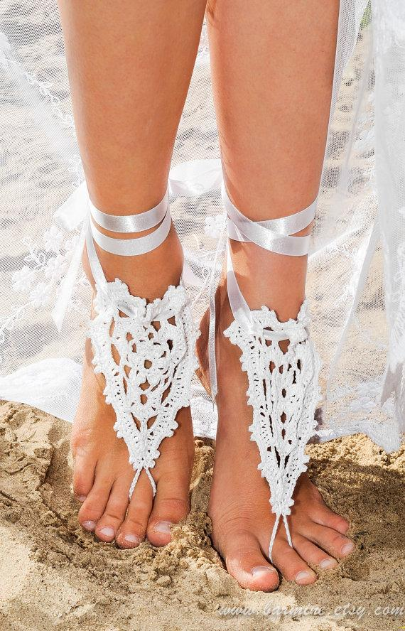 Beach Wedding Crochet Barefoot Sandals In White With Satin Ribbon ...