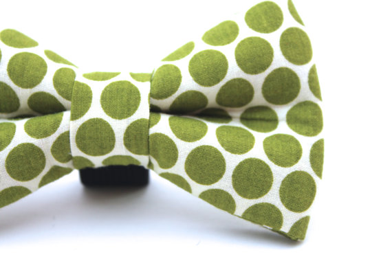 Свадьба - Dog Bow Tie, Doggie Bow Tie, Green Polka Dot Dog Bow TIe