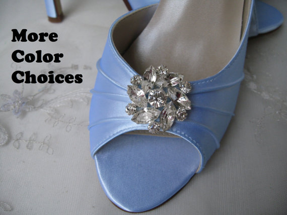 Mariage - Wedding Shoes Blue Bridal Shoes Crystal Rhinestone Flower Shoes Over 100 Custom Color Choices