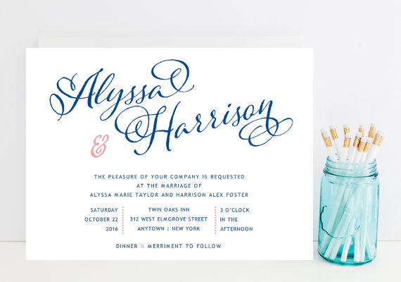 navy and pink wedding invitation whimsical script navy pink