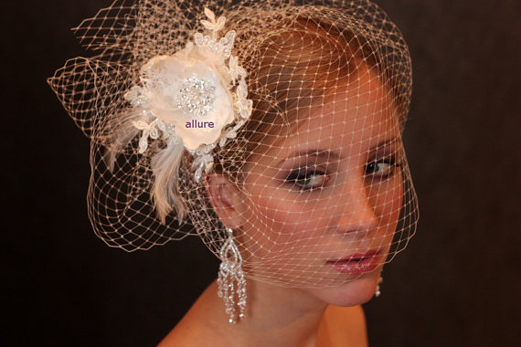 Mariage - Fabulous BIRD CAGE VEIL , wedding hat, bridal hat. Amazing fascinator, hair flowers, lace, pearls, crystals, feathers.