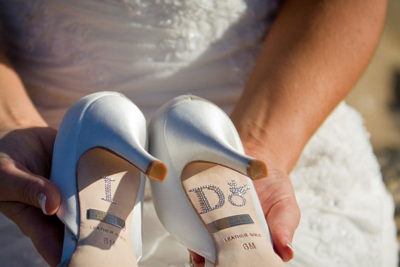 زفاف - Diamond Ring I DO Wedding Shoe Stickers in Silver