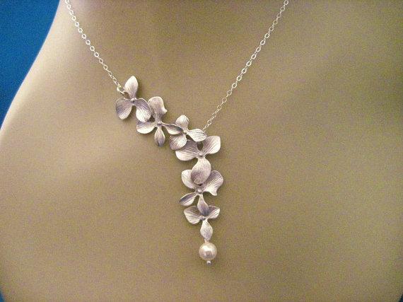 زفاف - Bridesmaid Jewelry Heather Bridal Silver Orchid Wedding Necklace
