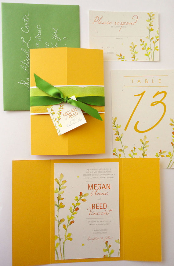 Sample Yellow And Green Baptisia Floral Gate Fold Wedding