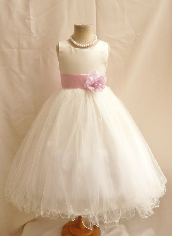 Flower Girl Dresses - IVORY With Pink Light (FD0FL) - Wedding Easter ...