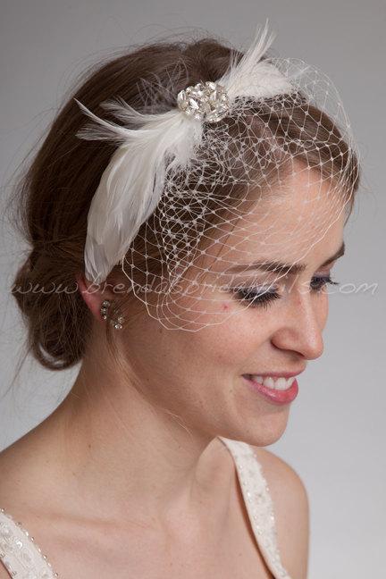 Свадьба - Bridal Birdcage Headband, Mini Veil with Feather Rhinestone Head Piece, Wedding Headband, Feather Fascinator - Sydney
