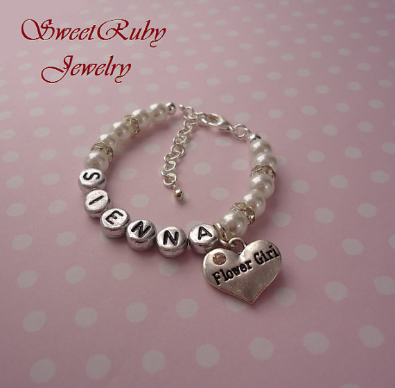 Hochzeit - Personalized Flower Girl Bracelet-Wedding,Bride,Ring Bearer,Mother of Bride,Maid of Honor,Flower Girl,Bridesmaid-w/ An Elegant Gift Box