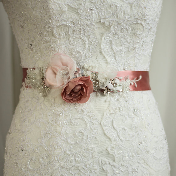 Bridal Sash Wedding Belt Wedding Dress Sash Floral Sash Flowered ...