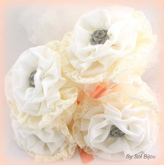 Свадьба - Bridesmaids Brooch Bouquet in Ivory, Cream and Coral with Chiffon, Lace and Tulle- Set of 4