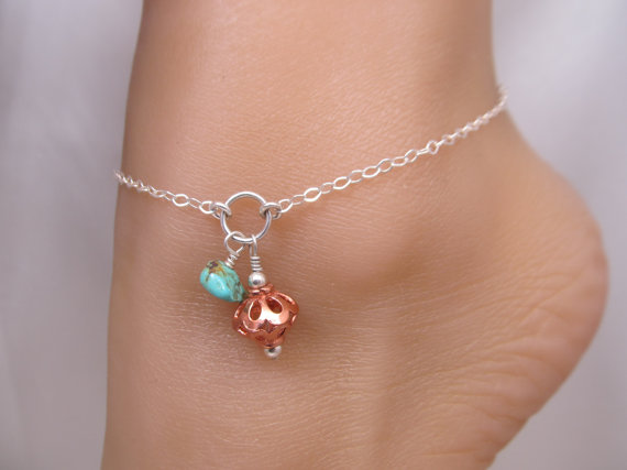 Mariage - Adjustable Copper & Turquoise Nugget Silver Boho Ankle Bracelet Anklet, Additional Option of Toe Ring and Chain Available in this shop