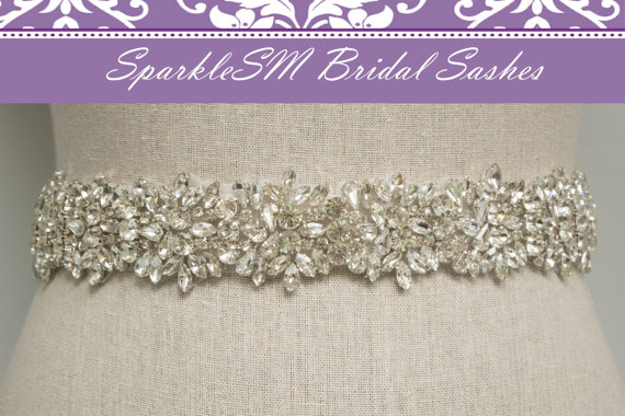 Hochzeit - Rhinestone Bridal Sash, Rhinestone and Crystal Wedding Belt, Rhinestone Pearls Satin Sash, Jeweled Beaded Sash, Bridal Accessories - Ava