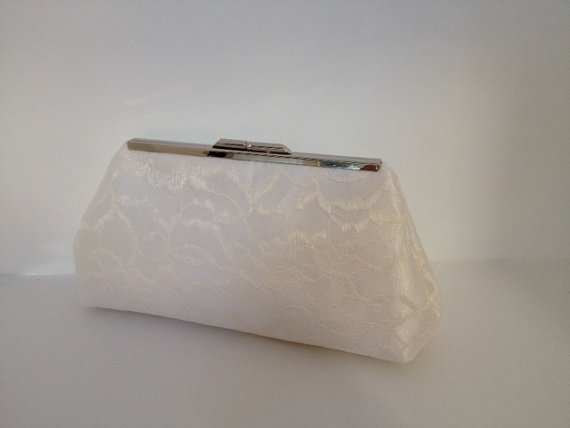 Wedding - Bridal Clutch Ivory Lace Overlay Clutch Purse, Special Occasion, Bridal, Wedding, Clutch Purse, Lace, Bridesmaid