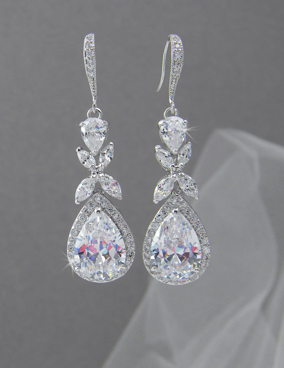 Crystal Bridal Earrings Rose Gold Wedding Jewelry Swarovski Amielynn