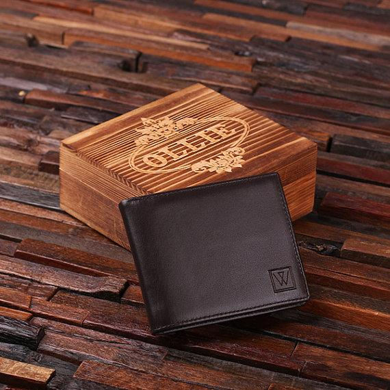 personalized monogrammed engraved genuine leather bifold mens wallet with optional wood gift box