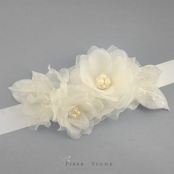 Silk sash wedding sash belt flower belt ivory sash for Ivory wedding dress belt