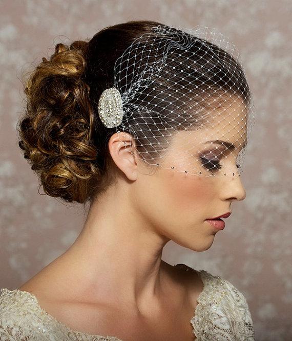 Свадьба - Wedding Veil with Rhinestone edge, Bandeau Birdcage Veil, Rhinestone Veil, Crystal Veil, Bird Cage Veil - Made to Order - VALENTINA