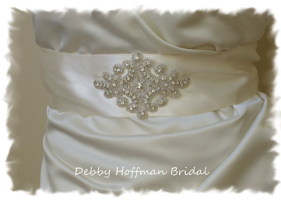 Mariage - Beaded Rhinestone Crystal Bridal Sash, Wedding Dress Belt, Wedding Sash,  No. 1161S2.25, Wedding Accessories, Wedding Party, Belts & Sashes